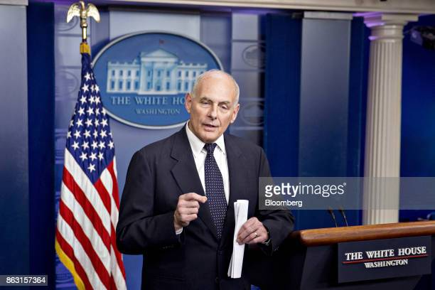 John Kelly White House chief of staff speaks during a White House briefing in Washington DC US on Thursday Oct 19 2017 US President Donald Trump...