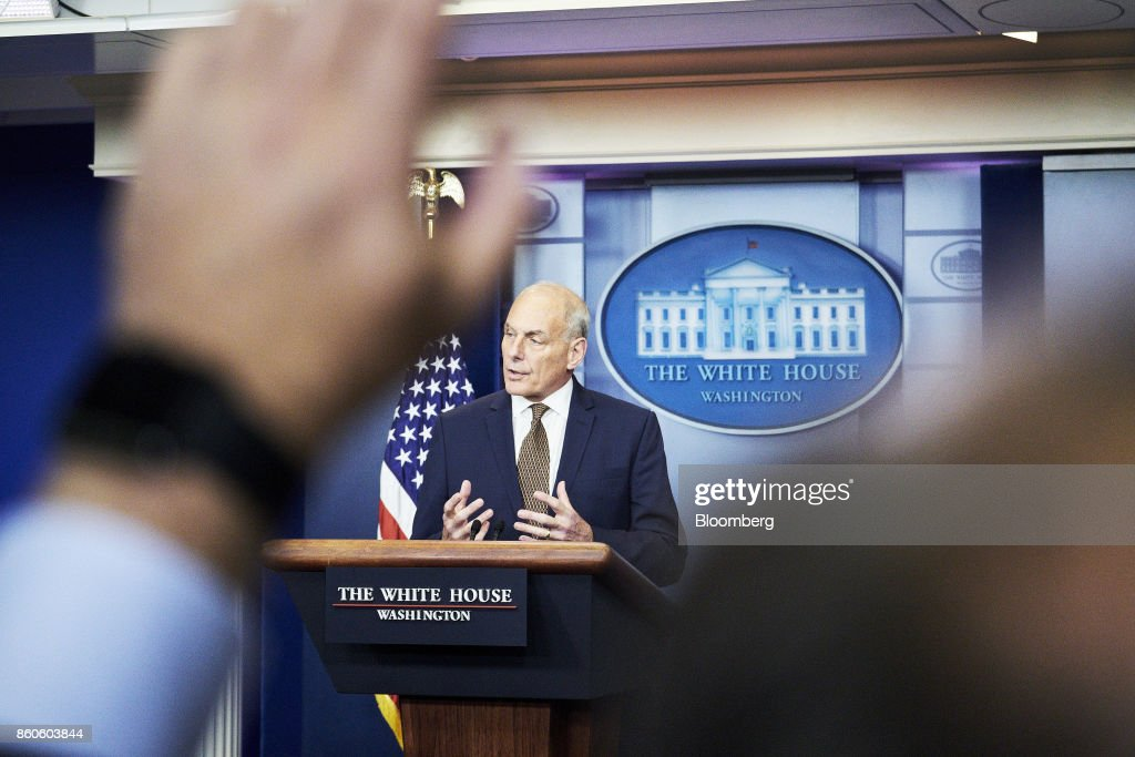 John Kelly, White House chief of staff, speaks during a White House press briefing in Washington, D.C., U.S., on Thursday, Oct. 12, 2017. Kelly surprised reporters on Thursday when he conducted the White House's daily news briefing himself and joked that he isn't planning to quit and doesn't expect to be fired. Photographer: T.J. Kirkpatrick/Bloomberg via Getty Images