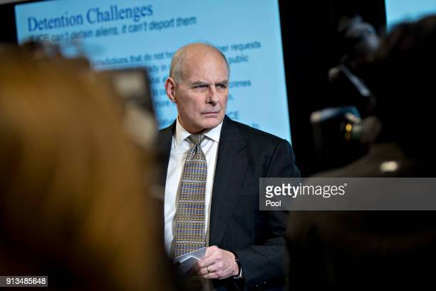 John Kelly White House chief of staff stands during a Customs and Border Protection roundtable discussion with US President Donald Trump not pictured...