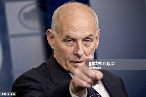 John Kelly White House chief of staff takes a question during a White House briefing in Washington DC US on Thursday Oct 19 2017 US President Donald...