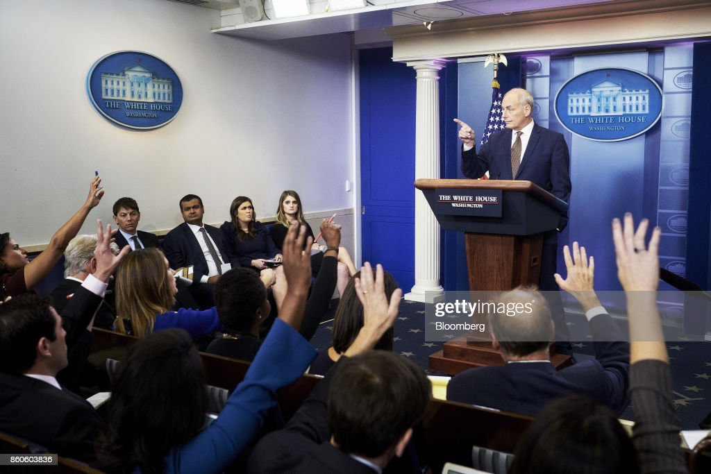 John Kelly, White House chief of staff, takes questions during a White House press briefing in Washington, D.C., U.S., on Thursday, Oct. 12, 2017. Kelly surprised reporters on Thursday when he conducted the White House's daily news briefing himself and joked that he isn't planning to quit and doesn't expect to be fired. Photographer: T.J. Kirkpatrick/Bloomberg via Getty Images
