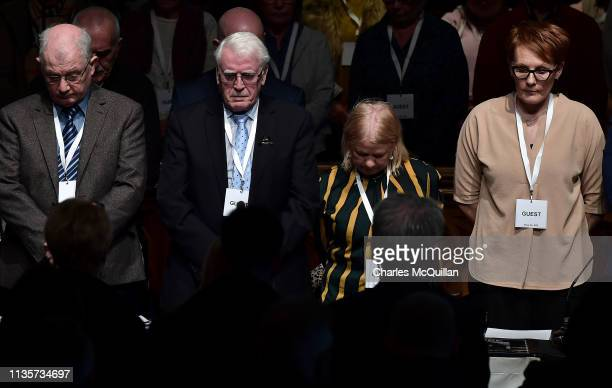John Kelly whose brother Michael died during Bloody Sunday takes part in a minute's silence after a press conference in reaction to today's Bloody...