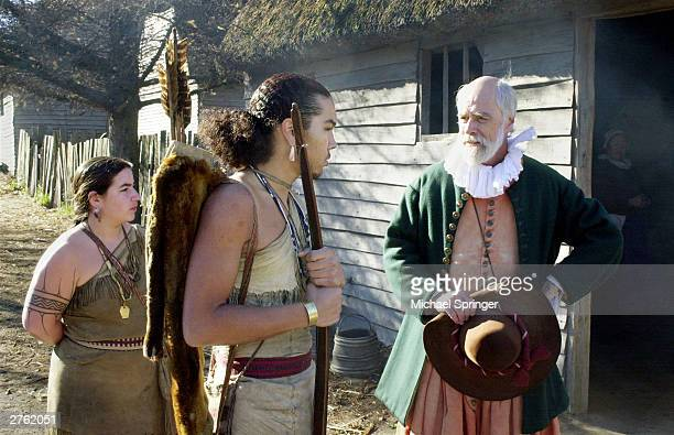 John Kemp portrays pilgrim Steven Hopkins meeting with the colonists Wampanoag Indian interpreter Hobbamock played by Jonathan Perry as another...