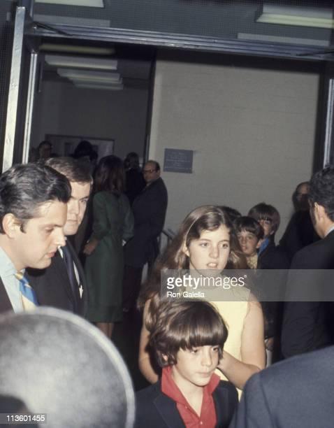 John Kennedy Jr and Caroline Kennedy during Arriving At John Jr's School Play 'Oliver' at John Kennedy Jr's Collegiate Boys School in New York City...