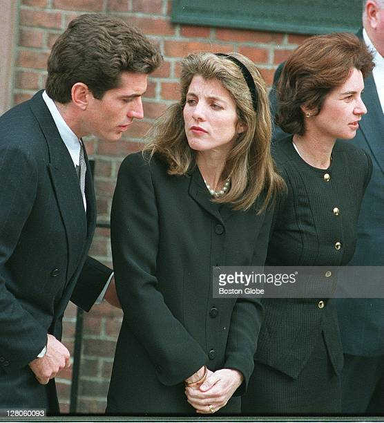 John Kennedy Jr Caroline Kennedy and Kathleen Kennedy Townsend arrive at the church for Rose Kennedy's funeral