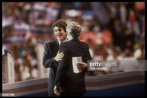 John Kennedy Jr embracing his uncle Sen Ted during Dem Natl Convention