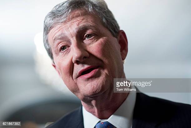John Kennedy Republican candidate for the US Senate from Louisiana is interviewed after announcing he advanced to a runoff election during an...