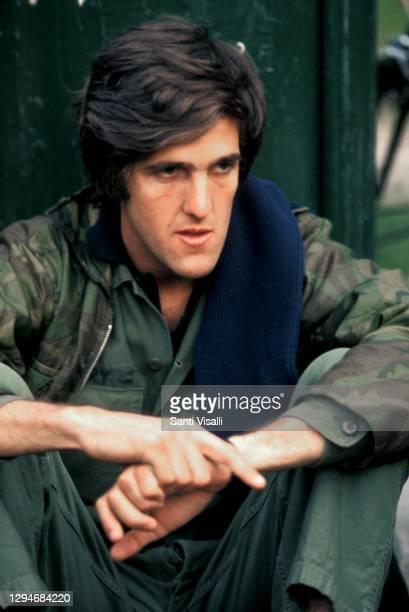 John Kerry at Anti-Vietnam War Veteran Memorial Day March on May 31, 1971 in Washington DC.