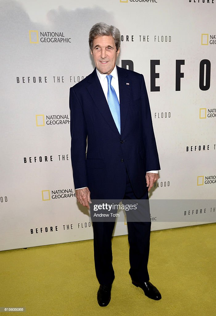 John Kerry attends the 'Before The Flood' New York premiere at United Nations Headquarters on October 20, 2016 in New York City.