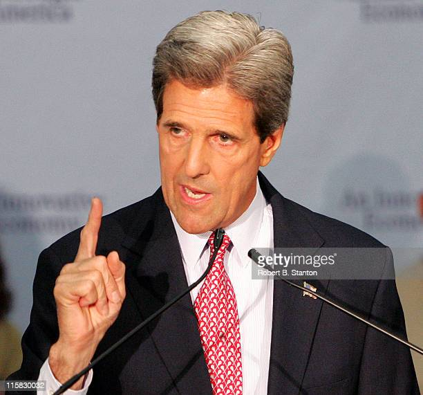 John Kerry delivers a campaign speech to Silicon Valley at the Student Union Ballroom, San Jose State University on June 24, 2004