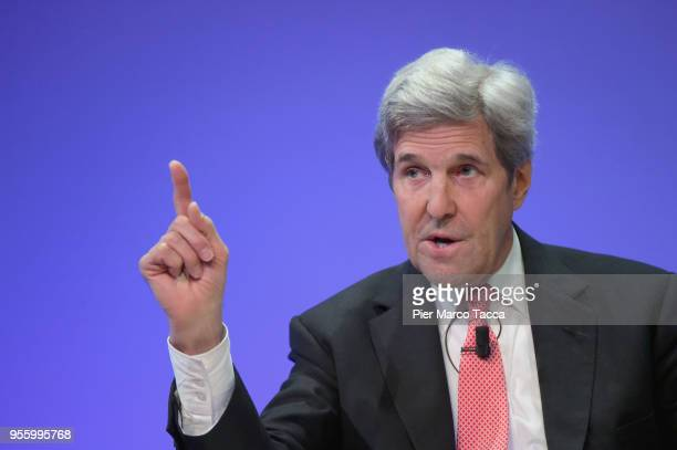 John Kerry, former 68th United States Secretary speaks during Seeds&Chips Summit on May 8, 2018 in Milan, Italy.The summit, which runs from May 7...
