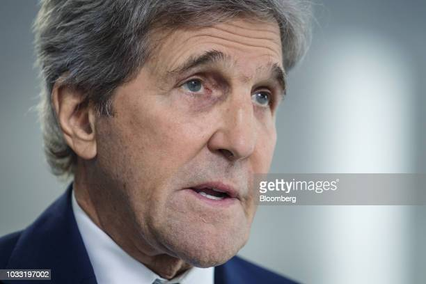 John Kerry former US Secretary of State speaks during a Bloomberg Television interview at the Global Climate Action Summit in San Francisco...
