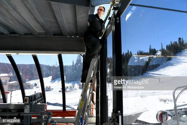 NEDERLAND CO NOVEMBER 9 John Kerry information technology director checks out the fiber optics on the new multimillion dollar Doppelmayr 6 person...