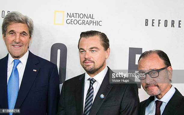 John Kerry Leonardo Dicaprio Fisher Stevens attend National Geographic Channel hosts the New York City Premiere of 'Before the Flood' at the United...