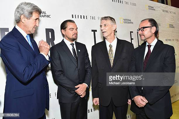 John Kerry Leonardo DiCaprio Piers Sellers and Fisher Stevens attend the National Geographic Channel 'Before the Flood' screening at United Nations...