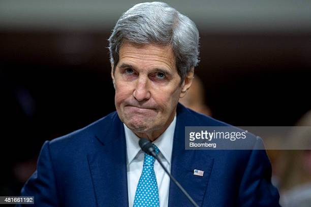 John Kerry US secretary of state arrives to a Senate Foreign Relations Committee hearing in Washington DC US on Thursday July 23 2015 Senator Bob...