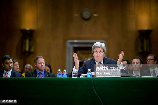 John Kerry US secretary of state speaks during a Senate Foreign Relations Committee in Washington DC US on Tuesday Feb 24 2015 Kerry said the US can...