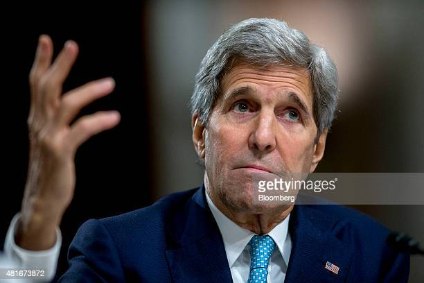 John Kerry US secretary of state speaks during a Senate Foreign Relations Committee hearing in Washington DC US on Thursday July 23 2015 Senator Bob...