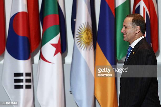 John Key, New Zealand's prime minister, arrives for the working dinner at the 2012 Seoul Nuclear Security Summit in Seoul, South Korea, on Monday,...