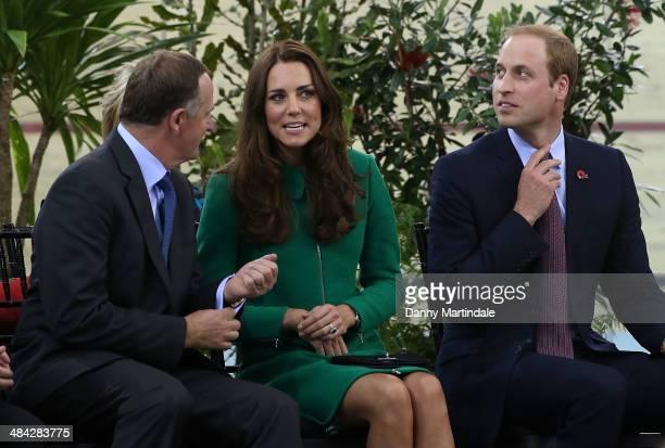 John Key Prime Minister of New Zealand Catherine Duchess of Cambridge and Prince William Duke of Cambridge attend Avantidrome where Their Royal...
