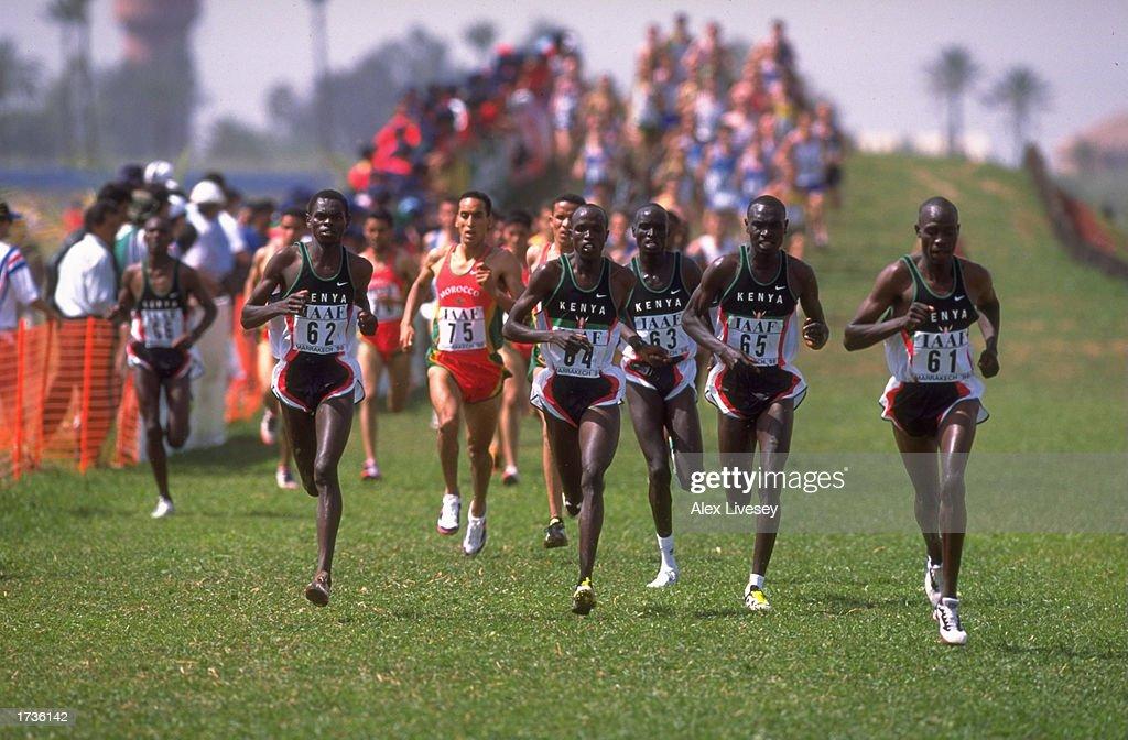 John Kibowen of Kenya and Daniel Komen also of Kenya lead ...