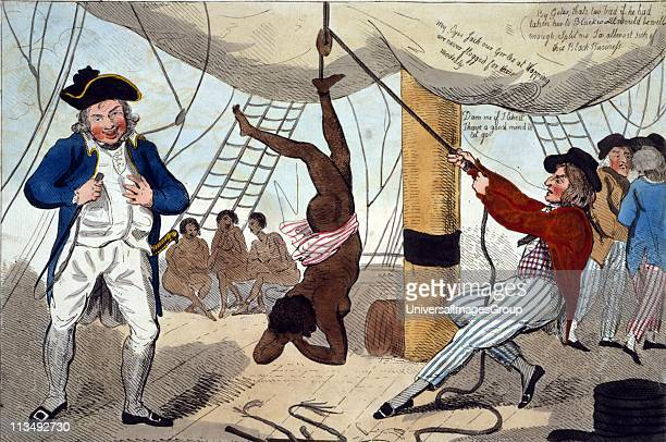 John Kimber Bristol ship's captain holding whip in 1792 tried for murder of female slave while punishing her for failing to eat Found not guilty but...