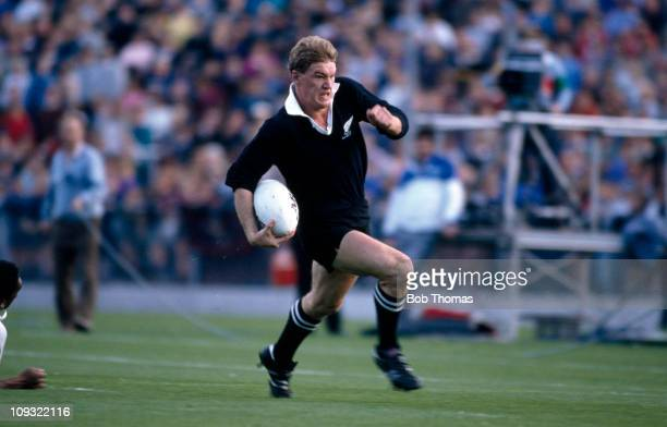 John Kirwan of New Zealand in action against Fiji during the Rugby Union World Cup match held in Christchurch on 27th May 1987 New Zealand won 7413