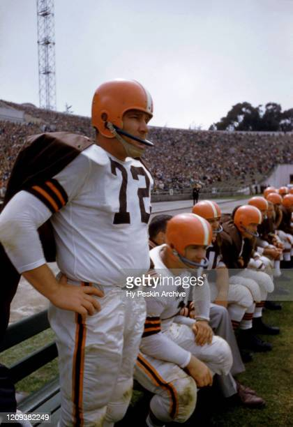 John Kissell of the Cleveland Browns stands on the sideline during an NFL game against the San Francisco 49ers on August 19, 1956 at Kezar Stadium in...