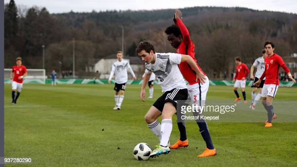 John Kitelano of Norway challenges Yari Otto of Germany during the UEFA Under19 European Championship Qualifier match between Germany and Norway at...