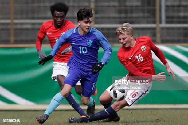 John Kitelano of Norway U19 Ferdi Kadioglu of Holland U19 Tobias Borchgrevink Borkeelet of Norway U19 during the match between Norway U19 v Holland...