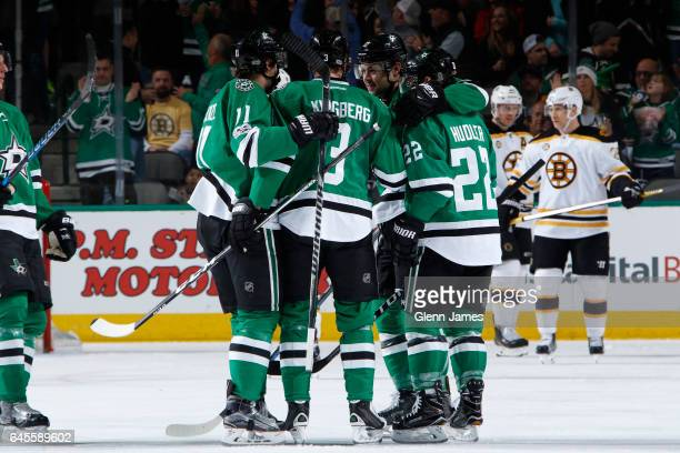 John Klingberg Curtis McKenzie Jiri Hudler and the Dallas Stars celebrate a goal against the Boston Bruins at the American Airlines Center on...