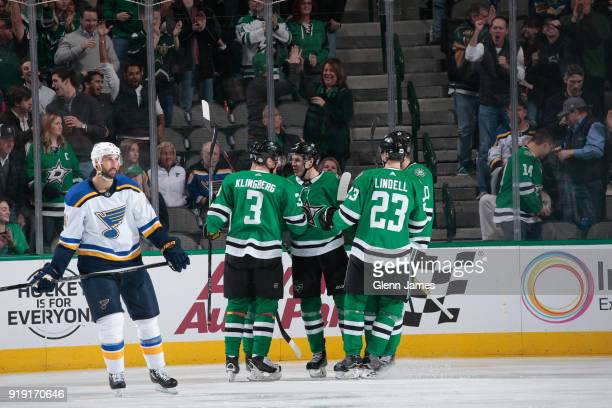 John Klingberg Mattias Janmark Esa Lindell and the Dallas Stars celebrate a goal against the St Louis Blues at the American Airlines Center on...