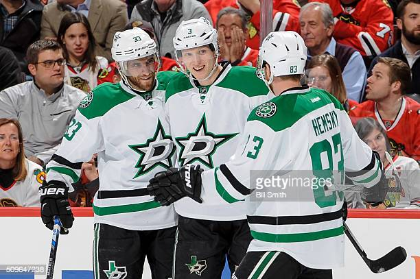 John Klingberg of the Dallas Stars celebrates with Alex Goligoski and Ales Hemsky after scoring against the Chicago Blackhawks in the first period of...