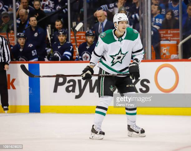 John Klingberg of the Dallas Stars keeps an eye on the play during third period action against the Winnipeg Jets at the Bell MTS Place on January 6...