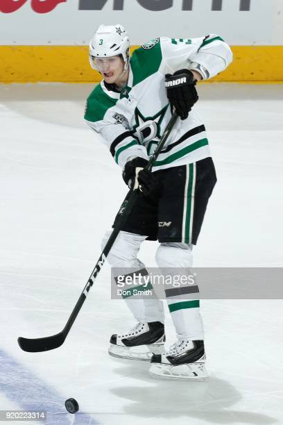 John Klingberg of the Dallas Stars passes the puck during a NHL game against the San Jose Sharks at SAP Center on February 18 2018 in San Jose...