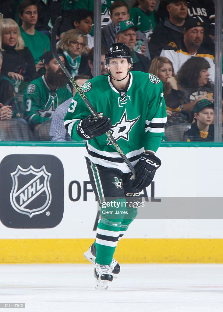 John Klingberg #3 of the Dallas Stars skates against the Boston Bruins at the American Airlines Center on February 20, 2016 in Dallas, Texas.