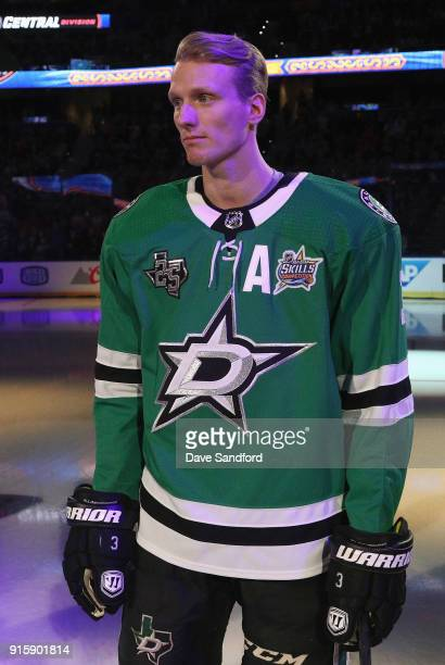 John Klingberg of the Dallas Stars stands on the ice before the 2018 GEICO NHL AllStar Skills Competition at Amalie Arena on January 27 2018 in Tampa...