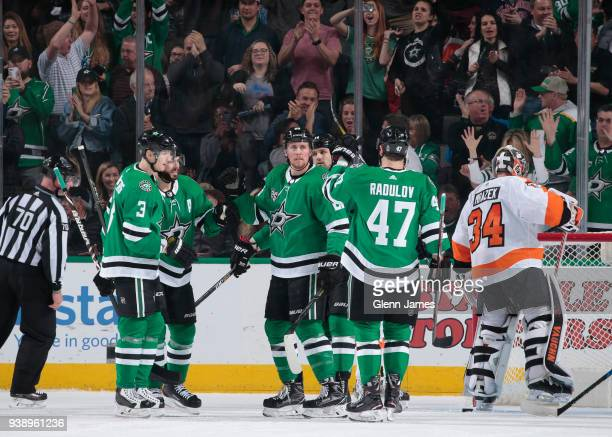 John Klingberg Tyler Seguin Brett Ritchie and Alexander Radulov of the Dallas Stars celebrate a goal against the Philadelphia Flyers at the American...