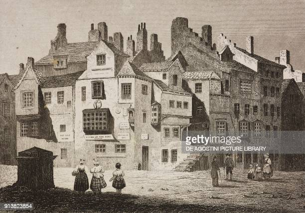 John Knox's house in Edinburgh Scotland United Kingdom engraving by Schroeder from Angleterre Ecosse et Irlande Volume IV by Leon Galibert and...
