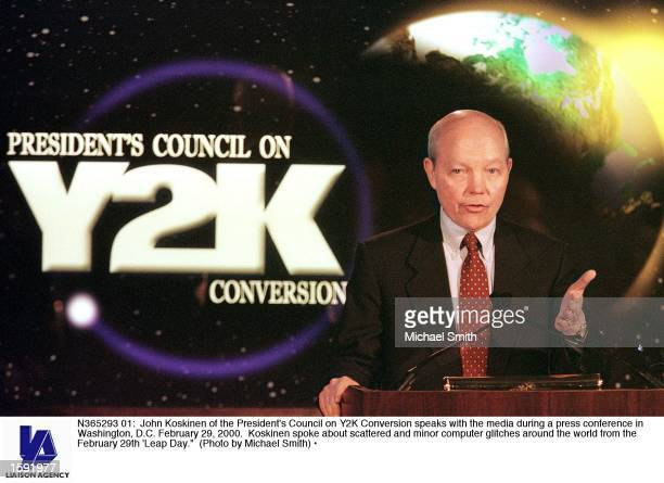 John Koskinen of the President's Council on Y2K Conversion speaks with the media during a press conference in Washington DC February 29 2000 Koskinen...