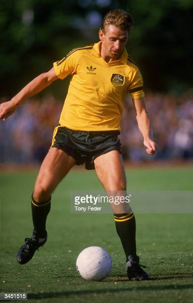 John Kosmina of Australia in action during a soccer match played between Australia and Israel held at Olympic Park 1985 in Melbourne Australia