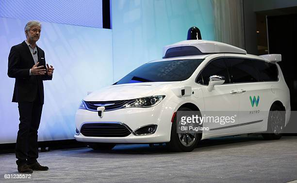 John Krafcik CEO of Waymo debuts a customized Chrysler Pacifica Hybrid that will be used for Google's autonomous vehicle program at the 2017 North...