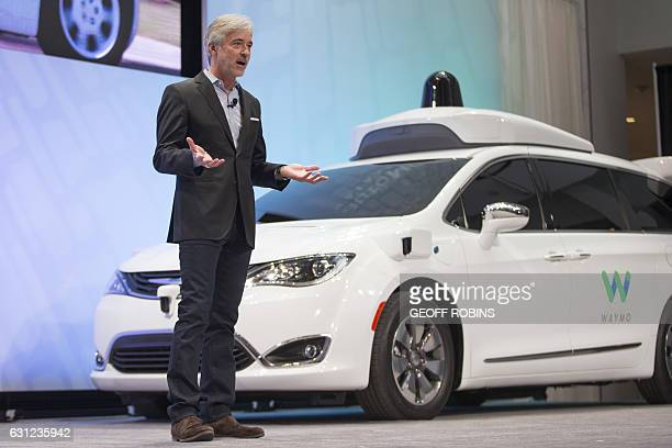 John Krafcik CEO of Waymo speaks at a press conference at the 2017 North American International Auto Show in Detroit Michigan January 8 2017 / AFP /...