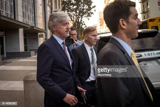 John Krafcik chief executive officer of Waymo Inc left exits the Phillip Burton Federal Building and US Courthouse in San Francisco California US on...