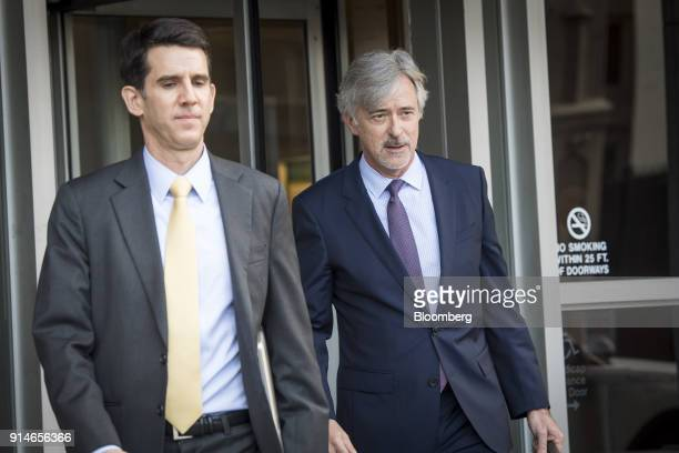 John Krafcik chief executive officer of Waymo Inc right exits the Phillip Burton Federal Building and US Courthouse in San Francisco California US on...