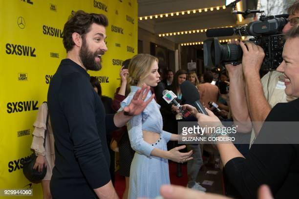 John Kransinski and Emily Blunt attend the 'A Quiet Place' premiere during 2018 SXSW Conference and Festivals at the Paramount Theater on March 9,...