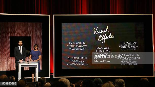 John Krasinski and Academy President Cheryl Boone Isaacs announce the Nominees for Visual Effects onstage during the 88th Oscars nominations...