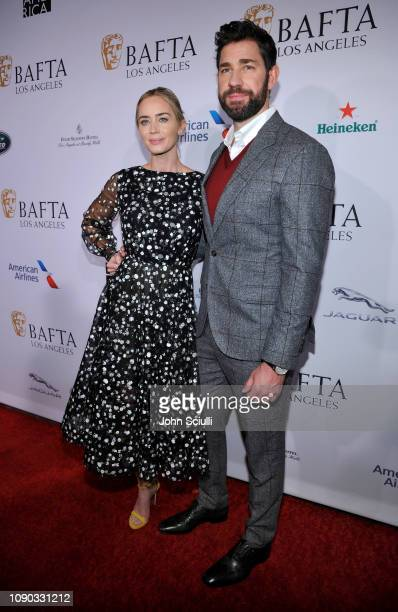 John Krasinski and Emily Blunt arrive to the BAFTA Tea Party at The Four Seasons Hotel Los Angeles at Beverly Hills on January 05 2019 in Beverly...