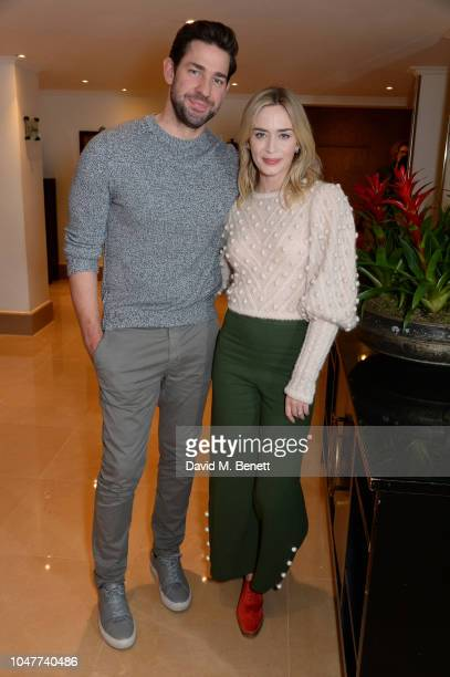 John Krasinski and Emily Blunt attend a special BAFTA Screening of Paramount Pictures' 'A Quiet Place' at The Mayfair Hotel on October 8 2018 in...