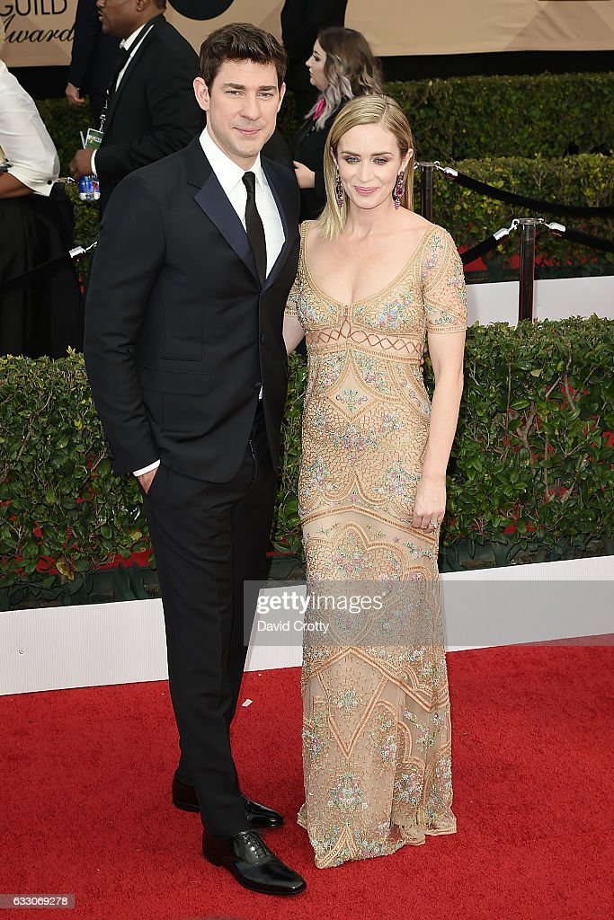 John Krasinski and Emily Blunt attend the 23rd Annual Screen Actors Guild Awards at The Shrine Expo Hall on January 29, 2017 in Los Angeles, California.